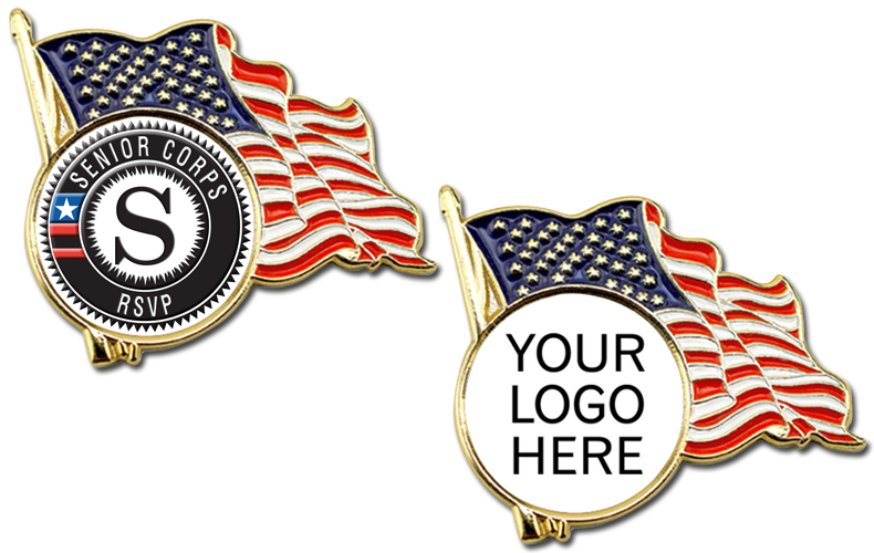 Stock U S A  Flag Lapel Pins With Custom Logo - Volunteer Gifts