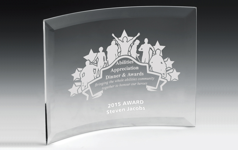 "2243S (Screen Print), 2243L (Laser) - Curved Standing Award - 7"" x 10"""