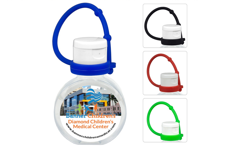 1 oz Compact Hand Sanitizer Antibacterial Gel in Round Flip-Top Squeeze Bottle with Colorful Silicone Leash