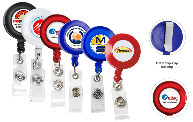 Cord Round Retractable Badge Reel and Badge Holder with Metal Slip Clip Attachment