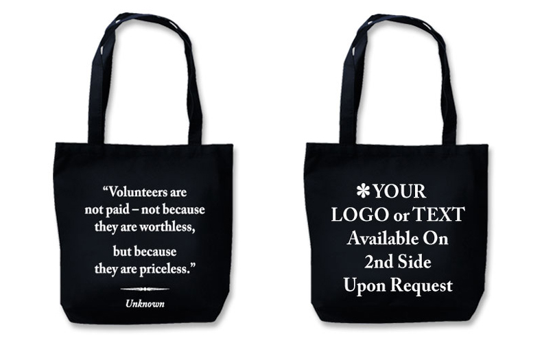 "Eco Friendly Tote With Quote""Volunteers Are Priceless"""