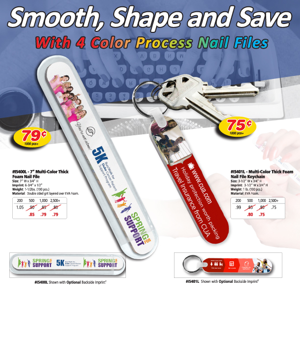 Multi-Color Thick Foam Nail File Keychain - Volunteer Gifts